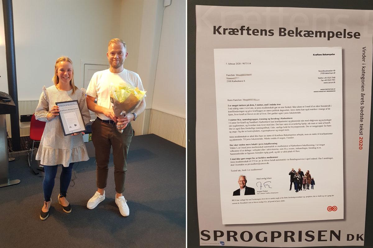 Kræftens Bekæmpelse vinder Sprogprisen for årets bedste tekst